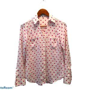 Express Portofino Polka Dot Long Sleeve Shirt